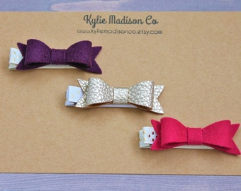 pink, purple, and champagne petite hair bow clip set of 3, baby hair clips