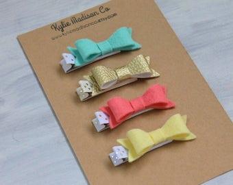 Spring hair bow clip set , petite handmade hair clips