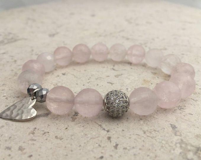 Faceted Rose Quartz Bracelet,  Pink Gemstone Bracelet Sterling Silver Heart- Graduation Gift- Girlfriend Gift- The Love and Heart Stone