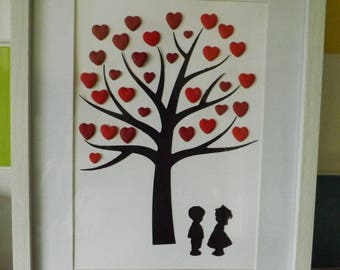 Paper cut Tree with added hearts