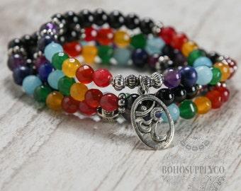 Chakra Ohm Wrap Bracelet Gemstone Stretch Energy Bracelet