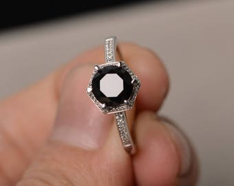 Round Cut Black Spinel Ring Silver Rings Black Ring Gemstone Jewelry