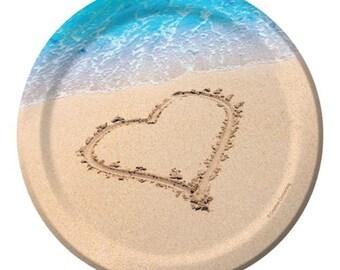 48 Ct Sturdy 7 Inch Disposable Dessert - Appetizer Plates - Beach Wedding - Ocean Theme - Destination Wedding - Guest Tableware