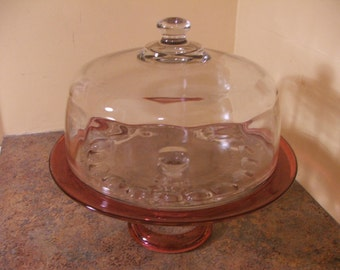 Vintage Indiana Glass Ruby Flash Kings Crown Thumbprint Cake Stand with Cover