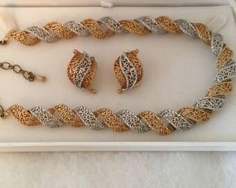 Kramer Necklace Earrings Set Filagree Silver Tone Gold Tone Wave Clip On Earrings