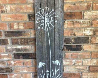 Reclaimed Wood Dandelion Picture