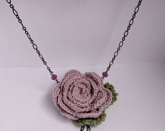 Handmade necklace with crochet rose