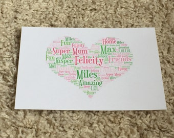 A4 Word Art Typography Shaped Print (unframed)