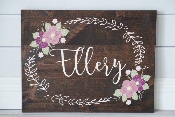 Custom Nursery Baby Girl Name Sign Wall Art Hand Painted