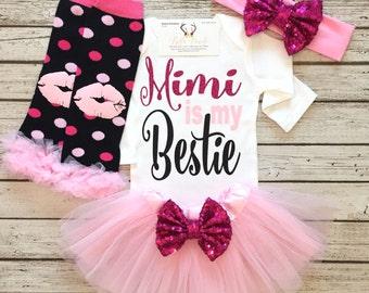 Baby Girl Clothes, Mimi Is My Bestie Bodysuit, Grandparent Shirts, Bestie Bodysuits, Mimi Bodysuits, Granddaughter Shirts,Grandparent Shirts