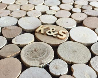 Wooden Wedding Guest book Alternative - 125 wooden discs - Sign in Rustic guestbook
