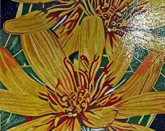Flower Mosaic Art - Yellow Gerbera
