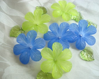 Promo! 20 Big Frosted Acrylic Flowers. Cornflower Blue and Yellow-Green Mix. 33x8mm Biggest Flower Beads. Lightweight & Lovely.  ~USPS Rates