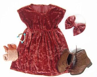 Girls Rust Velvet Empire Dress, Girl Rust Velvet Dress, Girl Velvet Dress, Toddler Girl Dresses Sizes 12/18m, 18/24m, 2/3 - Ready to Ship