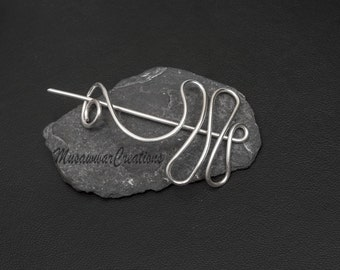Silver wire Shawl and Sweater pin,Copper wire  Shawl Pin,Shawl brooch, Sweater Pin,