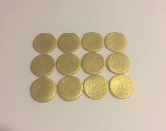50 Gold Fondant Polka Dots Toppers