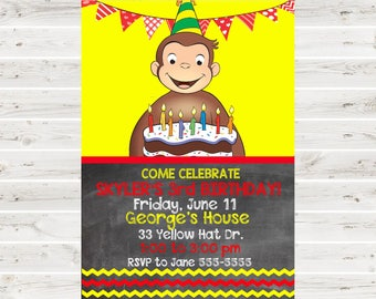 Curious George Birthday Invitation.Curious George Invitation.Curious George Invitation.Invitations.Curious George Party