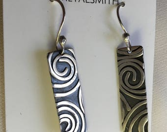 Swirl textured sterling silver dangle earrings with pearl drop