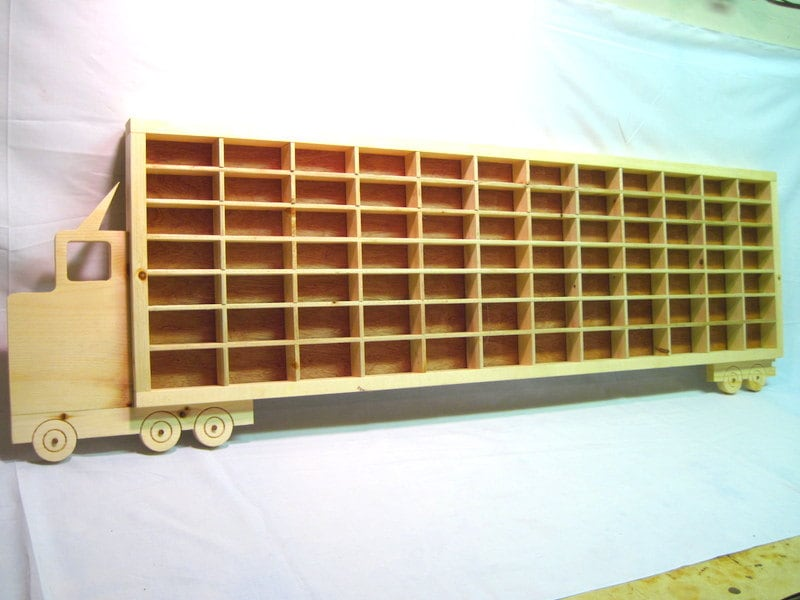 Wooden Toy Car Shelf : Hot wheels boys wood truck display case toy wall