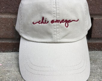 Chi Omega Handwriting Script Baseball Hat - Chi Omega Officially Licensed Baseball Cap - Chi O Shoreline Script Hat