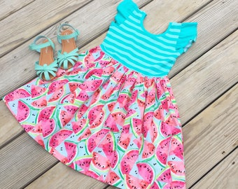 Watermelon summer dress, girls birthday outfit, toddler watermelon birthday dress, baby watermelon dress, gift