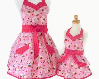 Mother & Daughter Cupcake Apron Set, Mommy and Me Aprons, Mommie and Me Pink Retro Apron, Baby Shower Apron Gift for Daughter, Granddaughter