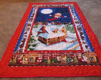 "Elf on a shelf - Elf on a shelf Quilt - An Elf's Story Quilt - 35"" x 56"" - A christmas Tradition - Christmas Quilt"