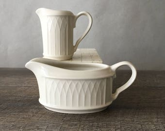 Vintage Homer Laughlin China Gothic pattern - creamer and sauce boat | restaurant ware, restaurant china, off white china, small gravy boat