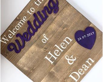 Rustic wedding sign - Wedding sign - Welcome to the wedding of sign - Wooden wedding welcome sign - Personalised wedding sign - Wedding idea