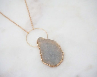 Druzy and Gold Pendant Necklace