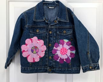 Girl's Denim Jacket, Size 24 Months, all Cotton w/pink Flower appliques, center back flower is 3D, Spring/Summer/Everyday/Anytime jacket