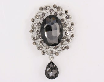 62x42mm (2.44x1.66inch) Black Rhinestone Wedding Brooch, DIY Wedding Brooch Bouquet Lot Gift Embellishment
