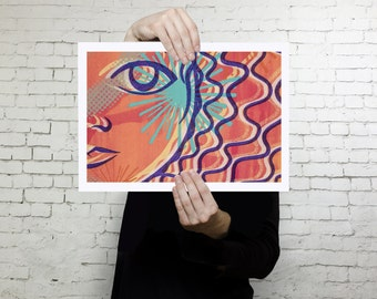 Colorful Art print, Wall art modern, contemporary, home decor wall art, silkscreen reproduction high quality print on paper, Landscape print