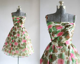 Vintage 1950s Dress / 50s Party Dress / Pink and Green Floral Dress w/ Ruched Bodice S