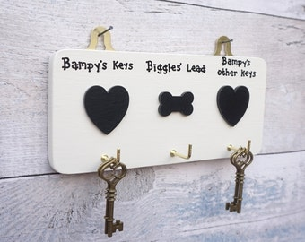Gothic/Goth/Gothic hearts/Personalised Key Hooks/Dog Lead Hook/Black Hearts/Gothic Home Decor/Storage/Emo/Monochrome decor