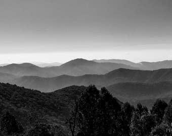 Shenandoah Range (Black & White) Instant Photo Download, Insta-Photo, Landscape Photography, B/W, Scenic, Virginia, Blue Ridge, Mountains