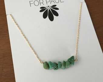 Ines Necklace with Turquoise Chips in gold