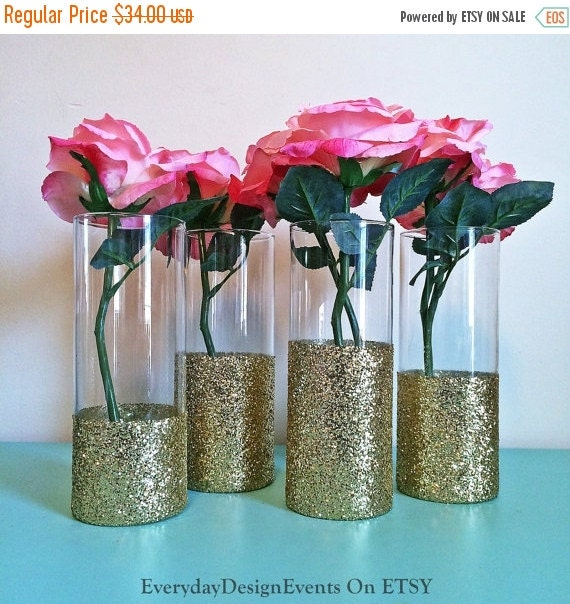 Wedding Vases For Sale: ON SALE 4 Gold Vases Wedding Decorations By