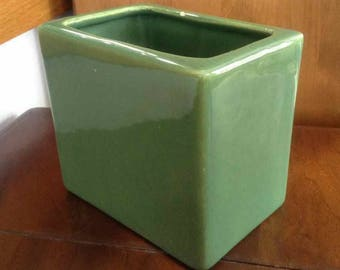 Vintage Bauer Pottery Glossy Green Pillow Vase - Made in USA - 1950's