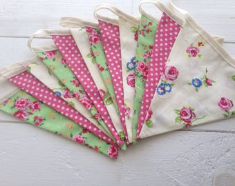 Double sided Fabric Bunting: rose flowers, pink dots
