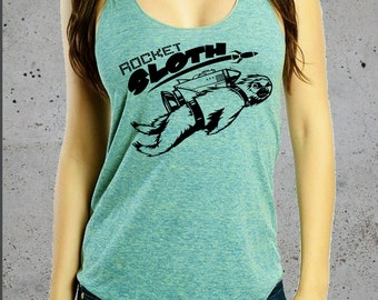 ROCKET SLOTH Shirt)Girlfriend Gift,Sloth Tank Top-Womens Graphic Tees,Funny Shirt,Sloth T-shirt-Yoga Clothes-Yoga Tank Top,Workout Tank