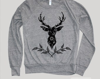 Deer Sweatshirt-DEER ANTLER Sweater Sweatshirt)Girlfriend Gifts-Women's Graphic Sweatshirt-Americanjunkiesociety-Birthday Gifts