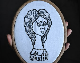 "Find Home - framed hand embroidered original design, 20cm/7.5"" hoop included, embroidery art"