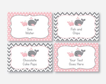 Instant Download, Editable Whale Food Labels, Pink Whale Baby Shower Food Labels, Whale Food Tags, Buffet Card, Pink Gray Chevron (SBS.52)