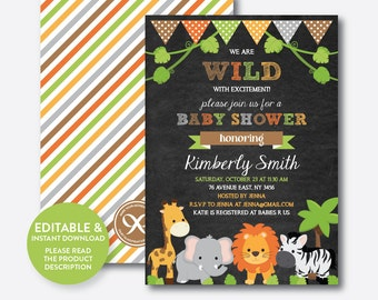 Instant Download, Editable Safari Baby Shower Invitation, Safari Invitation, Jungle Safari, Baby Safari, Baby Sprinkle, Chalkboard (CBS.42)