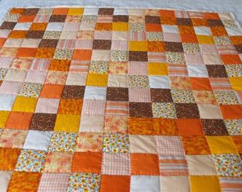 Orange squares Baby Quilt