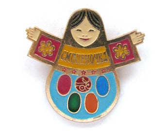Matryoshka doll, Rare Badge, Smolyanochka, Moscow 1980, Olympic Games, Russian Nesting doll, Vintage collectible badge, Made in USSR