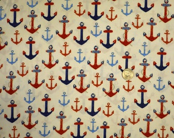 Robert Kaufman  - Down By the Sea  - 16031  - Red & Blue Anchors on Cream - One Yard of Fabric