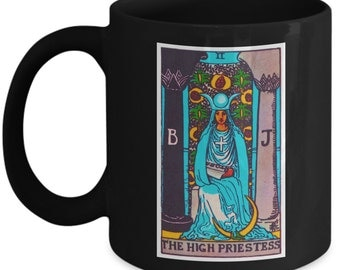 The High Priestess Tarot Card Black Coffee Mug 11 oz. Cup