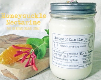 soy wax candle, No.16 Summer Retreat, Honeysuckle Nectarine, botanical soy candle with beeswax + essential oils, organic, hand poured, white